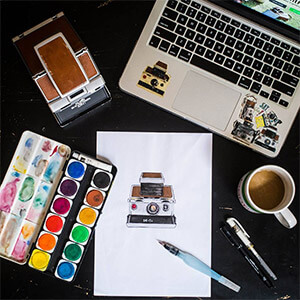 Drawing Polaroid SX-70 instant film camera