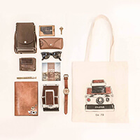 Knolling of Vintage Polaroid Camera SX-70 Model 1