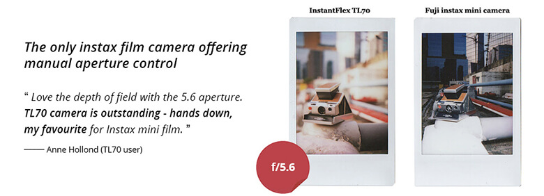 InstantFlex TL70 camera offers manual aperture control