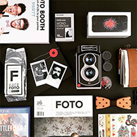 Knolling of InstantFlex TL70 instant film camera and other daily belonging